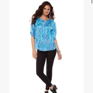 Jennifer Lopez Blue and green snake Print Blouse